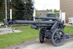 105 mm山短程高射炮Geb H 40根据weapo的德国 免版税图库摄影