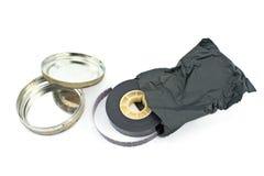 16mm影片轴和罐子箱子 免版税图库摄影