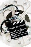 35mm戏院和拍板的电影卷轴大老专家 库存图片