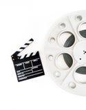 35mm电影放映机的原始的葡萄酒电影卷轴有拍板的 图库摄影