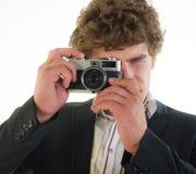 从35 mm的摄影师照相机 免版税库存图片