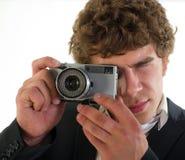 从35 mm的摄影师照相机 库存照片