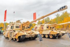 152 mm短程高射炮2S19M2 Msta-S。俄罗斯 库存图片