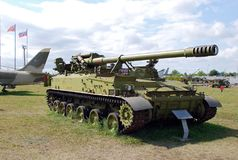 152 mm自走风信花枪2C5苏联军队的军事展览  免版税库存照片
