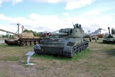 152 mm苏联军队的军事展览自走短程高射炮2C3 `金合欢` 库存图片