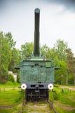 305 mm铁路枪正面图  图库摄影