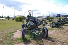 23 mm соединенный зенитный emplacement Технический музей k g Сахаров под открытым небом в городе Togliatti Стоковые Фотографии RF