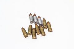 9mm Ammo bullets in light background. Ammo army background battle weapon Royalty Free Stock Photo