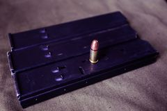 9mm ammunition with cartridges. On a military shooting range Stock Images