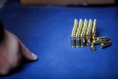 9 mm ammunition. On display on a shooting range Royalty Free Stock Photography
