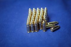 9 mm ammunition. On display on a shooting range Stock Image