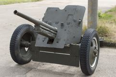 45-mm anti-tank gun of the 1937 model. The title `Farewell to the Motherland`. royalty free stock photo