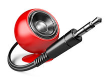 3,5 mm audio plug and red speaker. Illustration isolated on a white background Royalty Free Stock Image