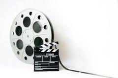 35mm bioskoop grote spoel met film en film clapperboard Stock Fotografie