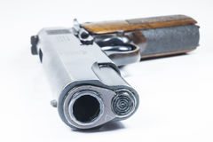 11 mm. Black handgun And ammunition Royalty Free Stock Photos
