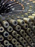 23mm bullet butts. 23mm anti-aircraft bullets in belt Royalty Free Stock Photography
