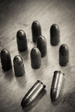 9mm bullet for a gun. (dark style Royalty Free Stock Image