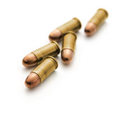 9mm bullet for a gun. A group of 9mm bullets for a gun on white background Stock Images