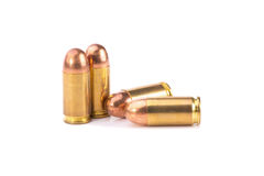 9mm bullet for a gun  on white background Royalty Free Stock Images