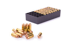 9mm bullet for a gun  on white background Stock Photography