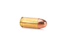 9mm bullet for a gun  on white background Royalty Free Stock Image