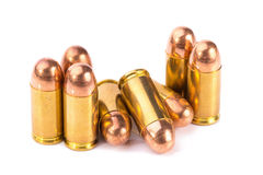 9mm bullet for a gun  on white background Stock Photo
