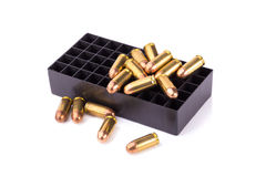 9mm bullet for a gun  on white background Stock Photos