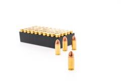 .9mm bullet for gun on white background. 9mm bullet for gun on white background Stock Photography