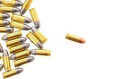 .9mm bullet for gun on white background. 9mm bullet for gun on white background Royalty Free Stock Photos