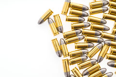 .9mm bullet for gun on white background. 9mm bullet for gun on white background Royalty Free Stock Images
