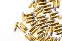 .9mm bullet for gun on white background. 9mm bullet for gun on white background Royalty Free Stock Photography