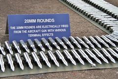 20mm rounds. Belts of depleted uranium armour piercing 20mm rounds for the M61 Vulcan Gatling Gun in the F16 and F15SG stock images