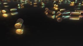 9mm Bullet Shells on a Reflective Surface stock footage