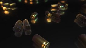 9mm Bullet Shells on a Reflective Surface stock video