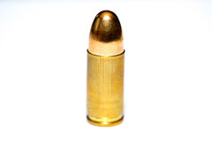 9 mm or .357 bullet on white background. 9 mm or .357 bullet isolated on white background stock photos