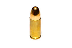9 mm or .357 bullet on white background Royalty Free Stock Photography