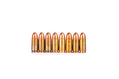 9mm.bullets array number nine from. 9mm. bullets 21shots  array to number nine from on whitebackground Royalty Free Stock Photography