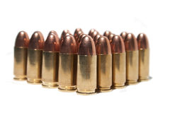 9mm bullets group. Picture from a group of 9mm bullets in a white background Royalty Free Stock Photo