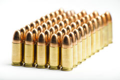 9mm bullets in a row Stock Photo