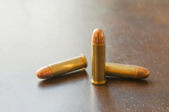9mm bullets. On the table Royalty Free Stock Photo