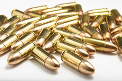 9mm bullets on white background Stock Images