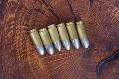 The 9mm caliber cartridges Royalty Free Stock Photo