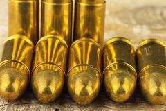 9mm caliber cartridges. Sale of weapons and ammunition. The right to bear arms. Stock Photography