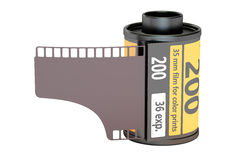 35 mm camera film, 3D rendering. On white background Stock Photos