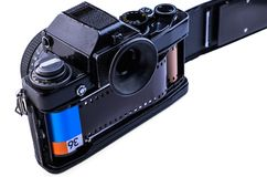 35MM CAMERA MET FILM Stock Afbeeldingen