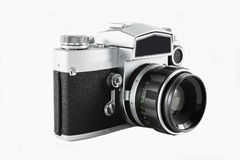 35mm Camera. A vintage film camera against a white background stock images