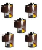 35 mm-camerafilms op wit Royalty-vrije Stock Foto's