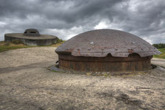 75mm cannon turret and observation cupola on Fort Douaumont Royalty Free Stock Image