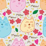 MM cat cute seamless pattern. This illustration is design and drawing abstract Meow Meow eyes cute with flowers, leaves, loves and golden glitter decoration in Stock Image