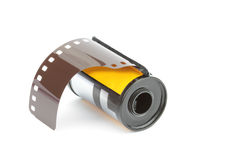 35mm de spoel van de fotofilm, op witte achtergrond wordt geïsoleerd die Royalty-vrije Stock Foto's